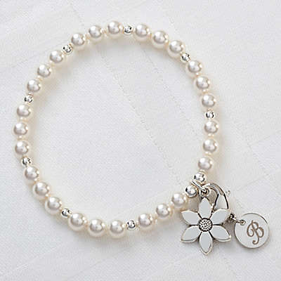 Swarovski® Crystal Coated Simulated Pearl and Flower Charm Children's Bracelet