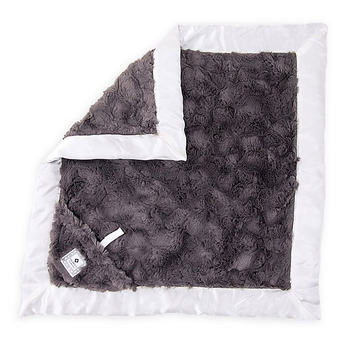 Alternate image 1 for Zalamoon Plush Luxie Pocket Monogram Blanket with Pocket Holder in Charcoal