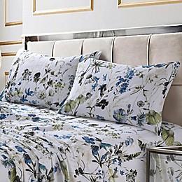 Tribeca Living Amalfi 300-Thread-Count Deep Pocket Twin XL Sheet Set in Blue