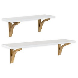 Kate and Laurel Corblynd Wall Shelf in White/Gold
