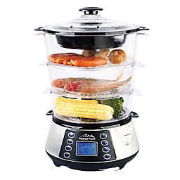 Heaven Fresh™ 3-Tier Digital Food Steamer in Silver/Black
