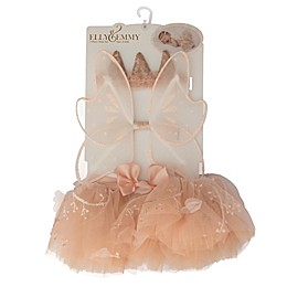 Elly & Emmy 3-Piece Flower Headband, Wings, and Tutu Set in Peach