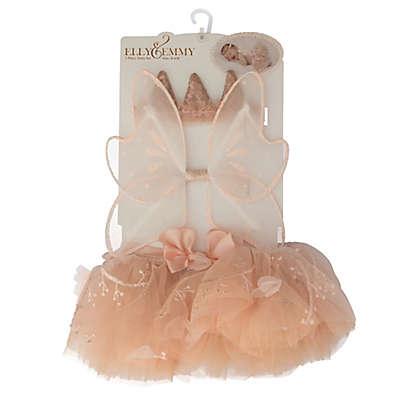 Elly & Emmy 3-Piece Flower Headband, Wings, and Tutu Set in Peach