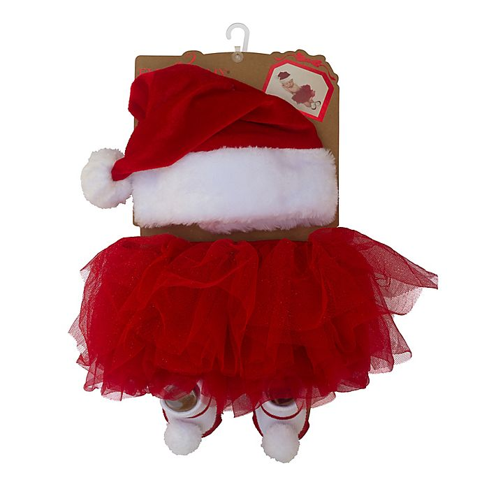 Alternate image 1 for Elly & Emmy 3-Piece Holiday Tutu, Headband, and Bootie Set in Red
