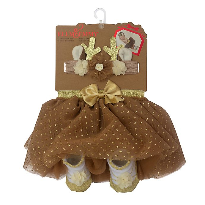 Alternate image 1 for Elly & Emma 3-Piece Fancy Tutu, Headband, and Bootie Set in Brown