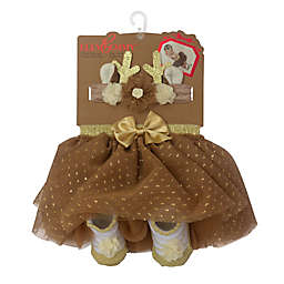 Elly & Emma 3-Piece Fancy Tutu, Headband, and Bootie Set in Brown