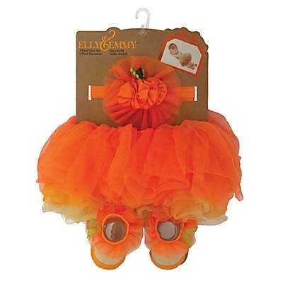 Elly & Emmy 3-Piece Halloween Tutu, Headband, and Bootie Set in Orange