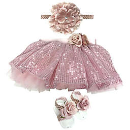 Toby Signature™ Size 0-12M 3-Piece Sequin Tutu, Headband, and Footwrap Set in Rose Gold