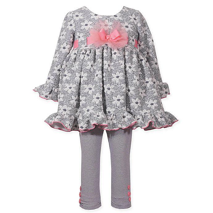 Bonnie Baby 2 Piece Long Sleeve Jacquard Knit Dress And Legging Set