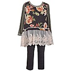 Bonnie Baby Size 6-9M 2-Piece Long Sleeve Floral Striped Knit Dress and Pant Set in Grey