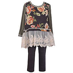 Bonnie Baby 2-Piece Long Sleeve Floral Striped Knit Dress and Pant Set in Grey