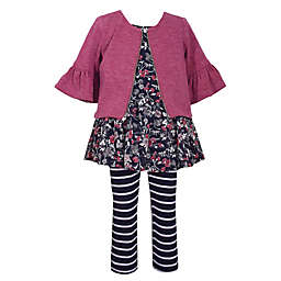 Bonnie Baby 3-Piece Cardigan, Dress and Pant Set in Burgundy