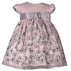 Bonnie Baby Size 6-9M Cap Sleeve Dress with Ribbon in Blush/Grey