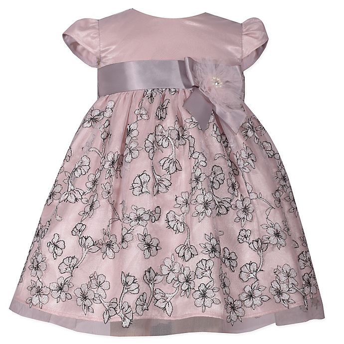 Alternate image 1 for Bonnie Baby Size 6-9M Cap Sleeve Dress with Ribbon in Blush/Grey