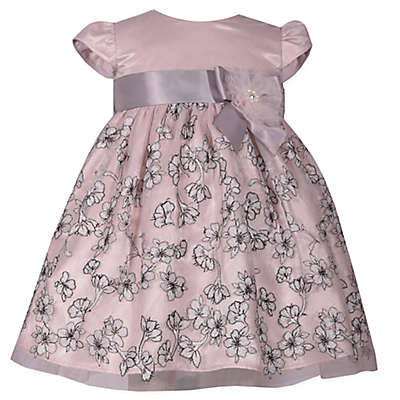Bonnie Baby Cap Sleeve Dress with Ribbon in Blush/Grey