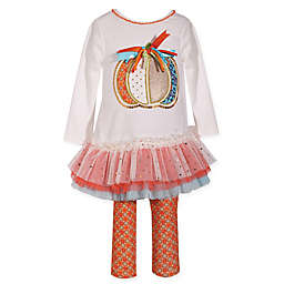 Bonnie Baby 2-Piece Pumpkin Dress and Legging Set in Ivory