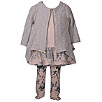 Bonnie Baby Size 6-9M 3-Piece Floral Cardigan, Top and Legging Set in Grey