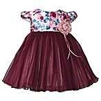 Bonnie Baby Size 18M Floral Cap Sleeve Dress in Burgundy