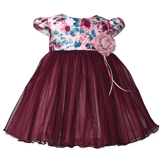 Alternate image 1 for Bonnie Baby Size 3-6M Floral Cap Sleeve Dress in Burgundy