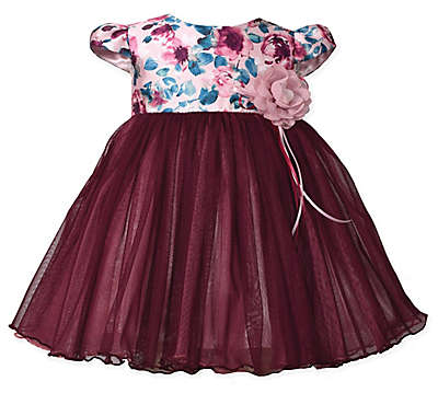 Bonnie Baby Floral Cap Sleeve Dress in Burgundy