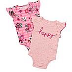 """Baby Starters® Size 6M 2-Pack """"Happy"""" Bodysuits in Pink"""