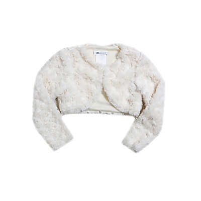 Bonnie Baby Faux Fur Shrug in Ivory
