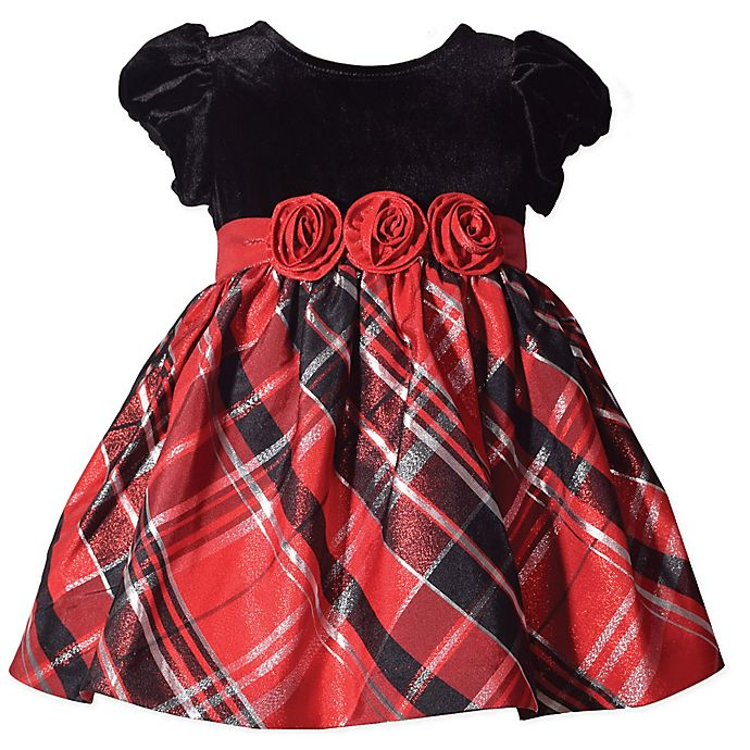 Alternate image 1 for Bonnie Baby Size 2T Plaid Short Sleeve Dress in Red