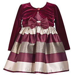 Bonnie Baby 2-Piece Striped Dress and Cardigan Set in Burgundy