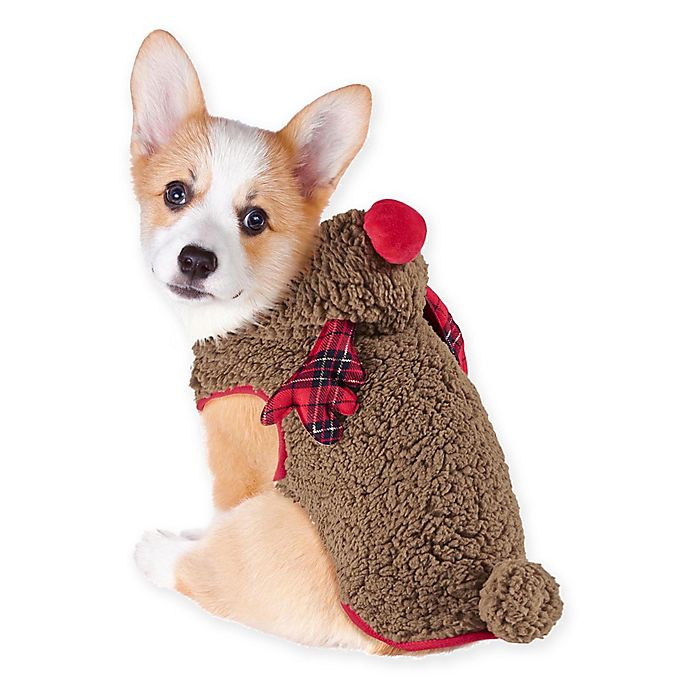 Alternate image 1 for Holiday Pet Reindeer Costume in Brown/Red