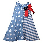 Bonnie Baby Size 12M Stars and Stripes Dress in Blue