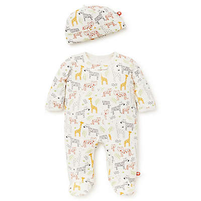 Offspring 2-Piece Animal Footie and Hat Set in Ivory