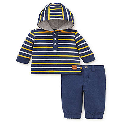 Offspring 2-Piece Hooded Shirt and Pant Set in Navy/Yellow
