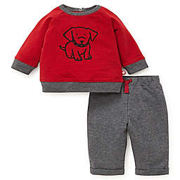 Offspring 2-Piece Dog Shirt and Pant Set in Red/Grey
