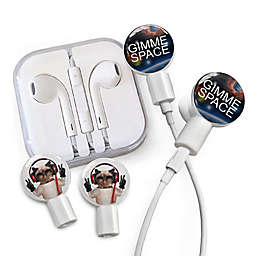 dekaSlides Earbuds with Gimmie Space and Peace Cat Slide-On Graphics Set in White