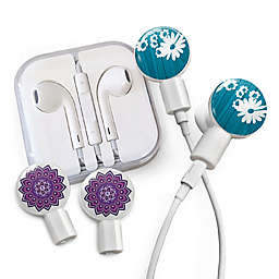 dekaSlides Earbuds with Daisy and Mandala Slide-On Graphics Set in Blue/Purple