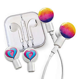 dekaSlides Earbuds with Watercolor Sunset and Tri-Heart Slide-On Graphics Set in White