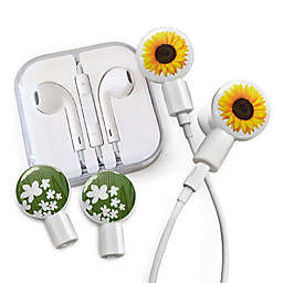 dekaSlides Earbuds with Sunflower and Forest Peace Slide-On Graphics Set in White