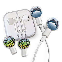 dekaSlides Earbuds with Dolphins and Rainbow Hearts Slide-On Graphics Set in White