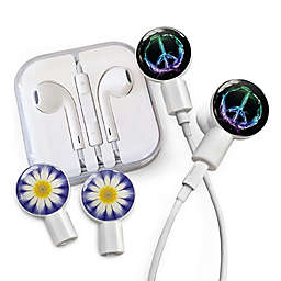 dekaSlides Earbuds with Peace Sign and Daisy Slide-On Graphics Set in Purple