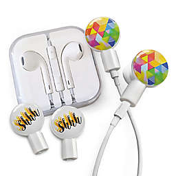 dekaSlides Earbuds with Geometric Rainbow and SHHH Slide-On Graphics Set in White