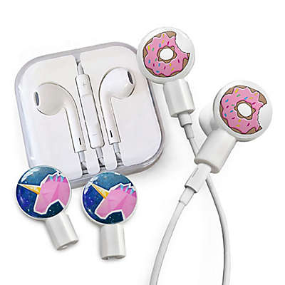 dekaSlides Donut Bite and Geo Unicorn Slides with In-Ear Headphones in White
