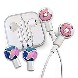 dekaSlides Earbuds with Donut Bite and Geo Unicorn Slide-On Graphics Set in White