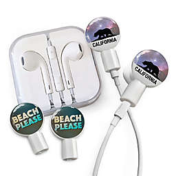 dekaSlides Earbuds with Cali Bear and Beach Please Slide-On Graphics Set in White