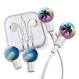 dekaSlides Earbuds with Palm Paradise and Tubular Wave Slide-On Graphics Set in White