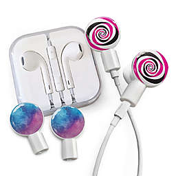 dekaSlides Earbuds with Lollipop and Watercolor Sky Slide-On Graphics Set in White