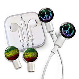 dekaSlides Earbuds with Peace Sign and Rasta Watercolor Slide-On Graphics Set in White