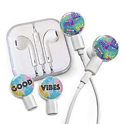 dekaSlides Earbuds with Cassettes and Good Vibes Slide-On Graphics Set in White
