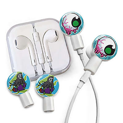 dekaSlides Dripping Eyeball and Grim Skater Slides with In-Ear Headphones in White