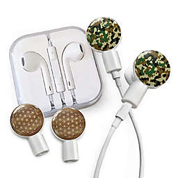 dekaSlides Earbuds with Forest Camo and Flower of Life Slide-On Graphics Set in White