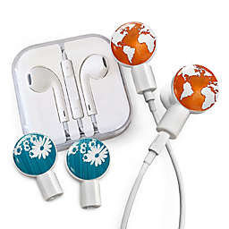 dekaSlides Earbuds with Earth is Listening and Daisy Slide-On Graphics Set in Blue/White